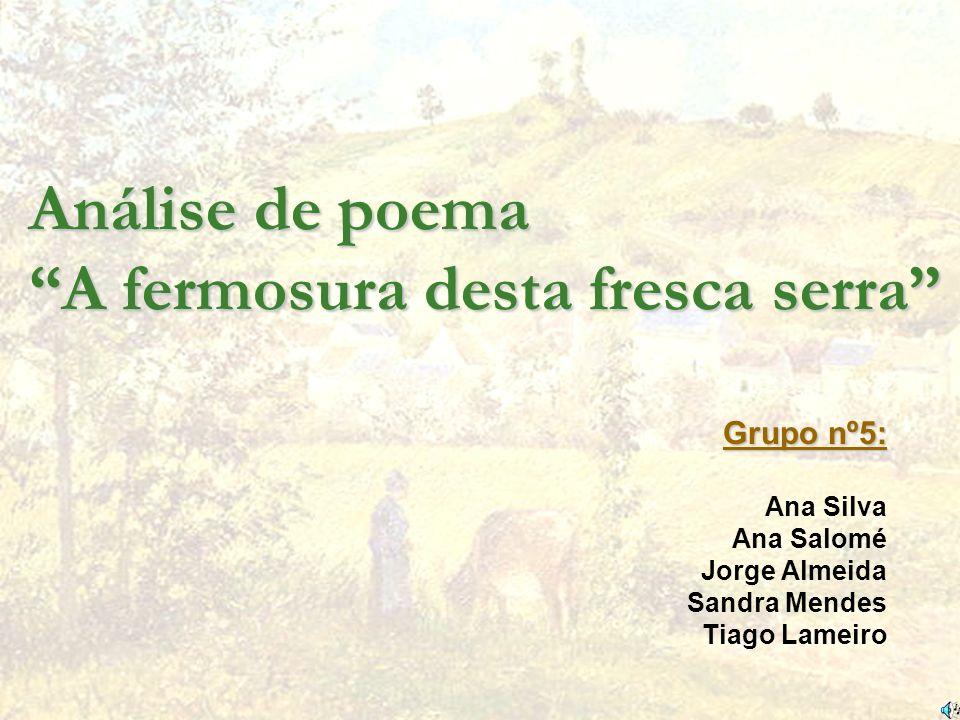 Análise de poema A fermosura desta fresca serra