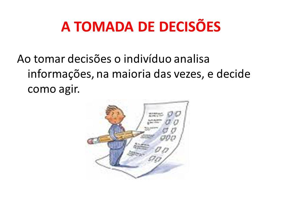 A TOMADA DE DECISÕES Ao tomar decisões o indivíduo analisa informações, na maioria das vezes, e decide como agir.