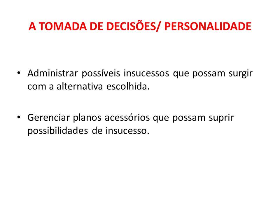 A TOMADA DE DECISÕES/ PERSONALIDADE