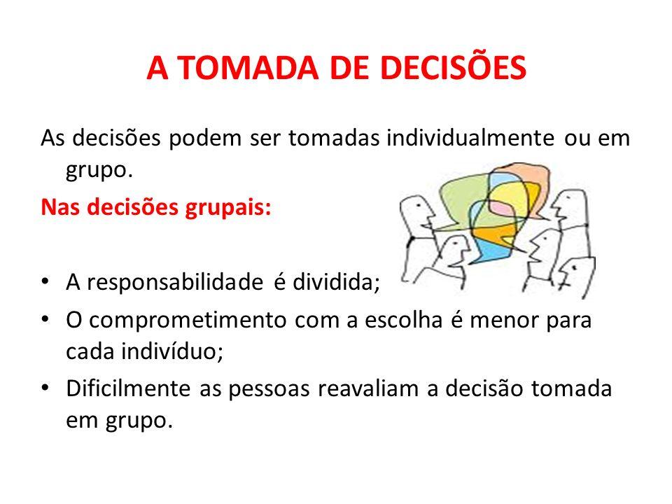 A TOMADA DE DECISÕES As decisões podem ser tomadas individualmente ou em grupo. Nas decisões grupais: