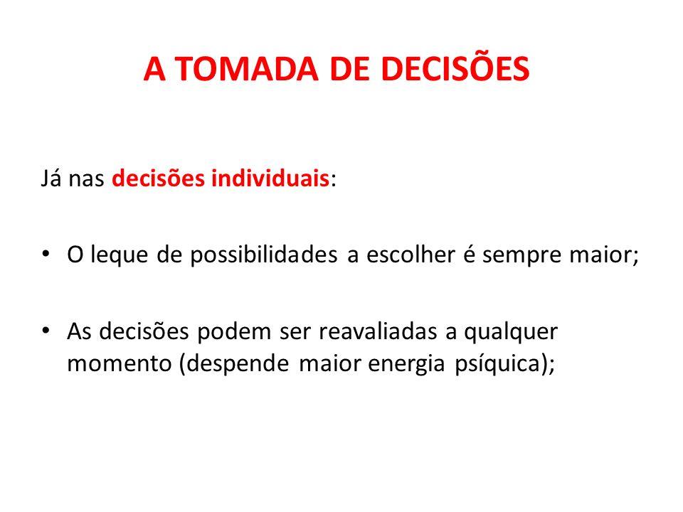 A TOMADA DE DECISÕES Já nas decisões individuais:
