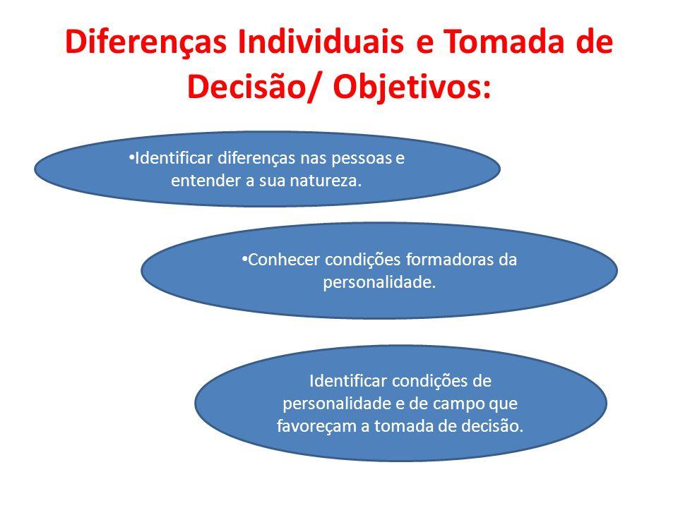 Diferenças Individuais e Tomada de Decisão/ Objetivos: