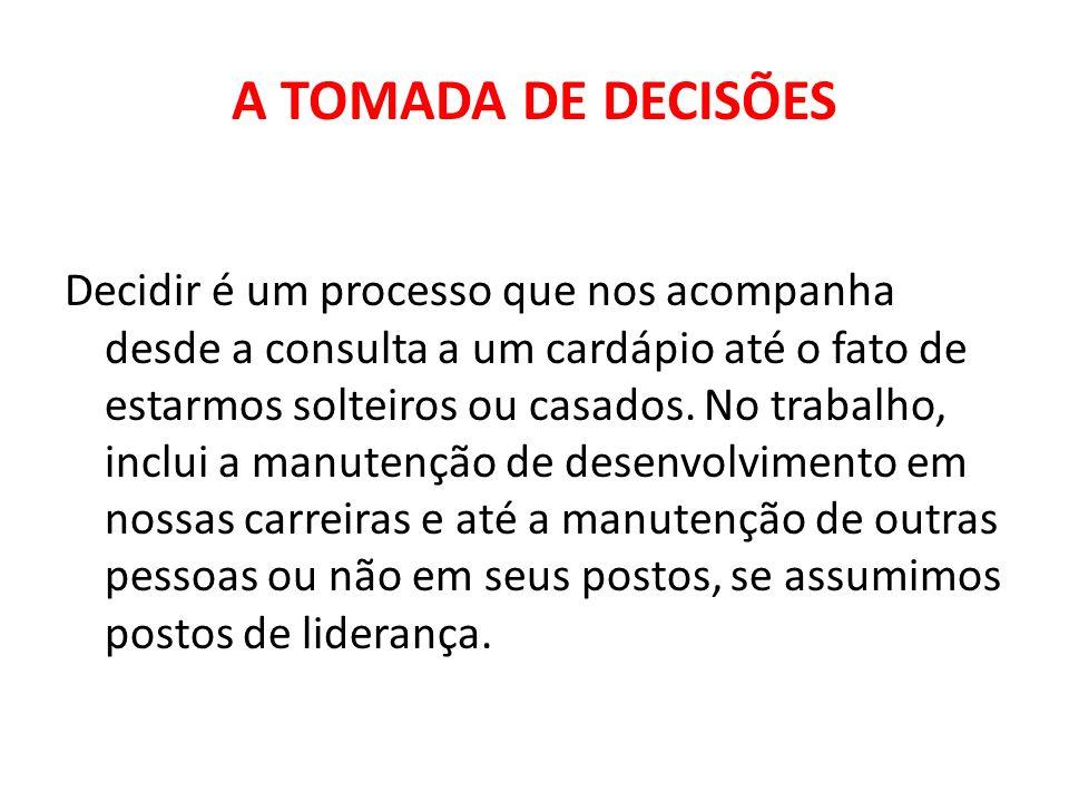 A TOMADA DE DECISÕES