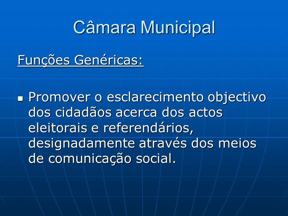 Câmara Municipal Funções Genéricas: