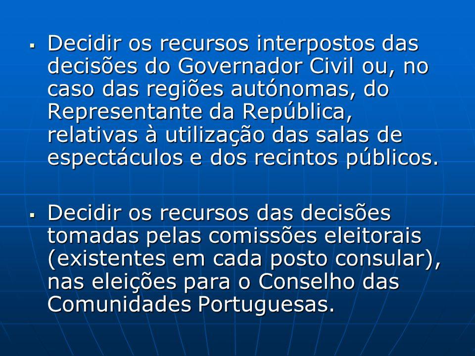 Decidir os recursos interpostos das decisões do Governador Civil ou, no caso das regiões autónomas, do Representante da República, relativas à utilização das salas de espectáculos e dos recintos públicos.