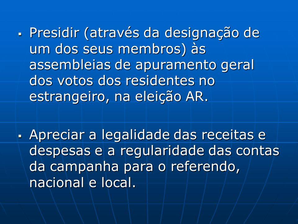 Presidir (através da designação de um dos seus membros) às assembleias de apuramento geral dos votos dos residentes no estrangeiro, na eleição AR.