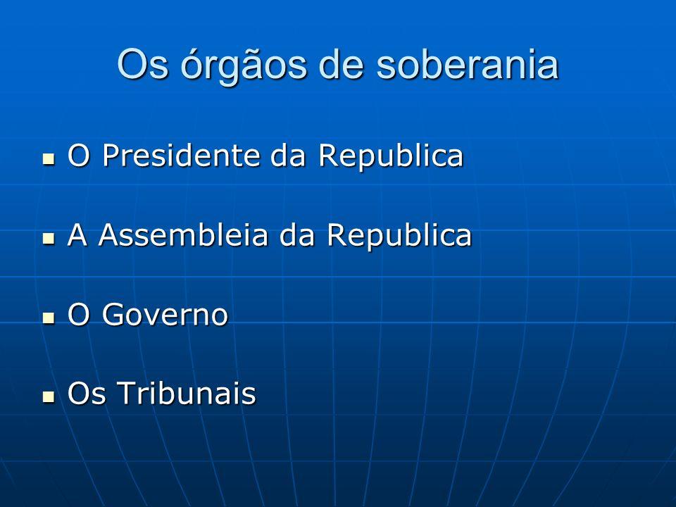 Os órgãos de soberania O Presidente da Republica