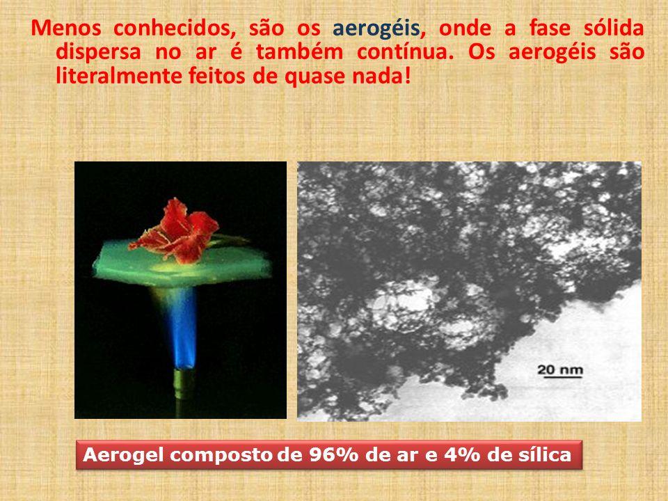 Menos conhecidos, são os aerogéis, onde a fase sólida dispersa no ar é também contínua. Os aerogéis são literalmente feitos de quase nada!