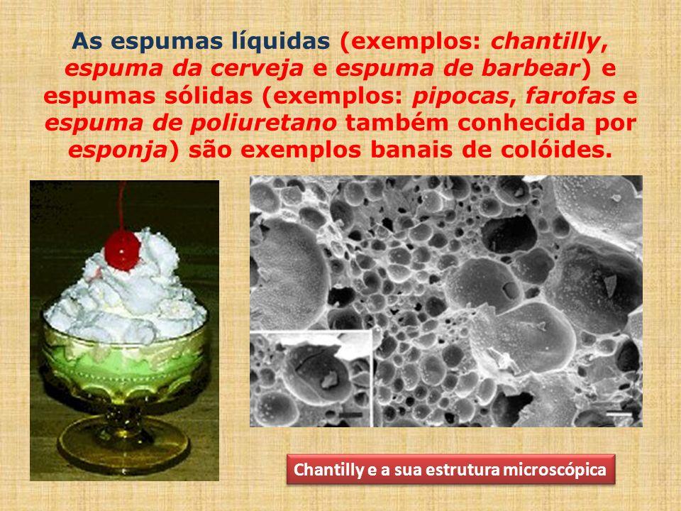 As espumas líquidas (exemplos: chantilly, espuma da cerveja e espuma de barbear) e espumas sólidas (exemplos: pipocas, farofas e espuma de poliuretano também conhecida por esponja) são exemplos banais de colóides.