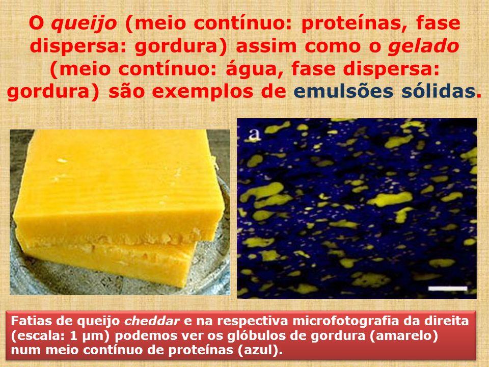 O queijo (meio contínuo: proteínas, fase dispersa: gordura) assim como o gelado (meio contínuo: água, fase dispersa: gordura) são exemplos de emulsões sólidas.