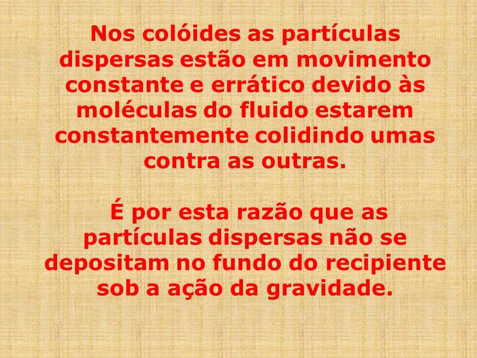 Nos colóides as partículas dispersas estão em movimento constante e errático devido às moléculas do fluido estarem constantemente colidindo umas contra as outras.