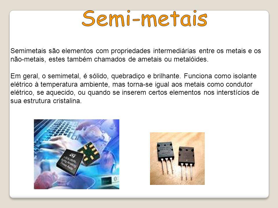 Semi-metais Semimetais são elementos com propriedades intermediárias entre os metais e os não-metais, estes também chamados de ametais ou metalóides.