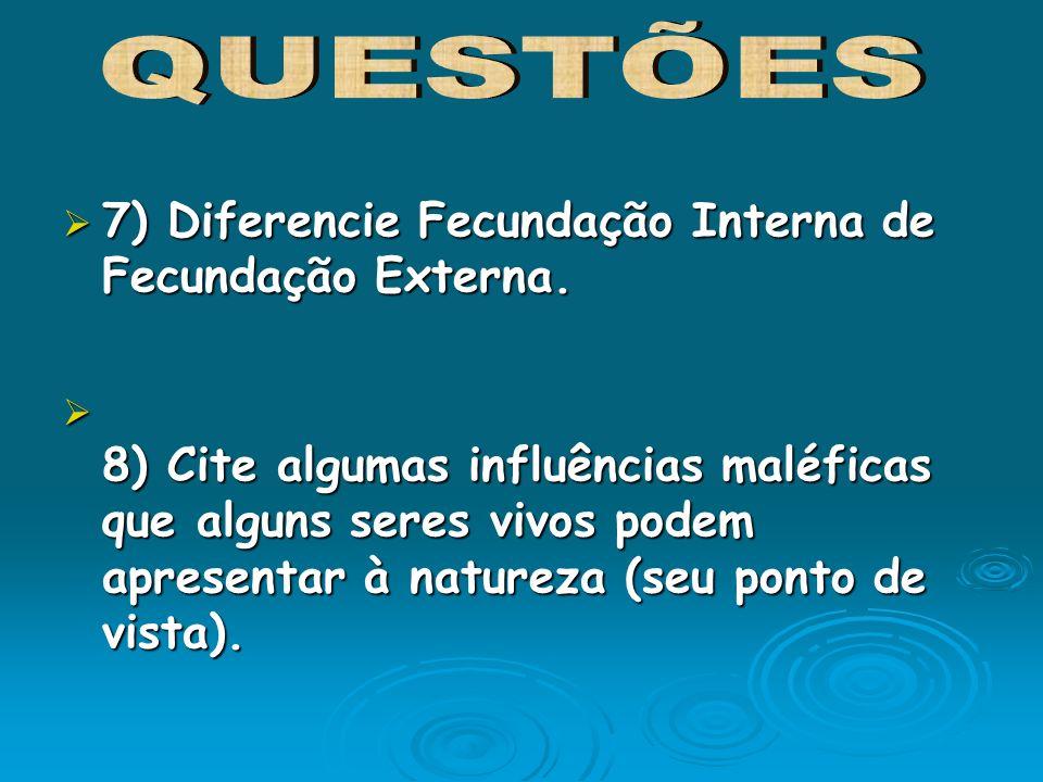 7) Diferencie Fecundação Interna de Fecundação Externa.