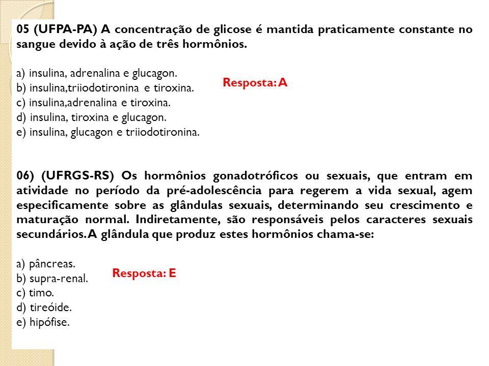 05 (UFPA-PA) A concentração de glicose é mantida praticamente constante no sangue devido à ação de três hormônios.