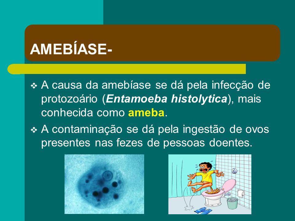 AMEBÍASE- A causa da amebíase se dá pela infecção de protozoário (Entamoeba histolytica), mais conhecida como ameba.