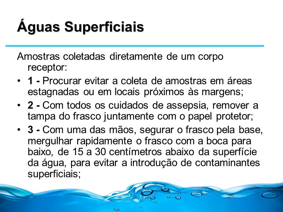 Águas Superficiais Amostras coletadas diretamente de um corpo receptor: