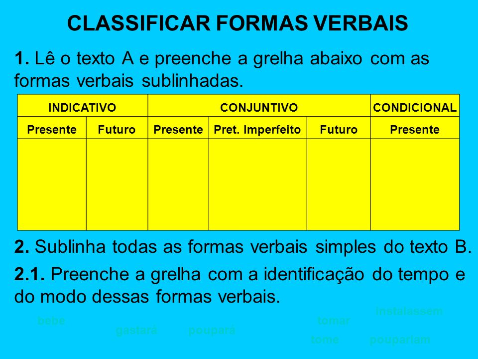 CLASSIFICAR FORMAS VERBAIS