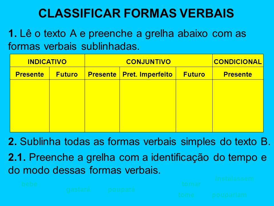 CLASSIFICAR FORMAS VERBAIS