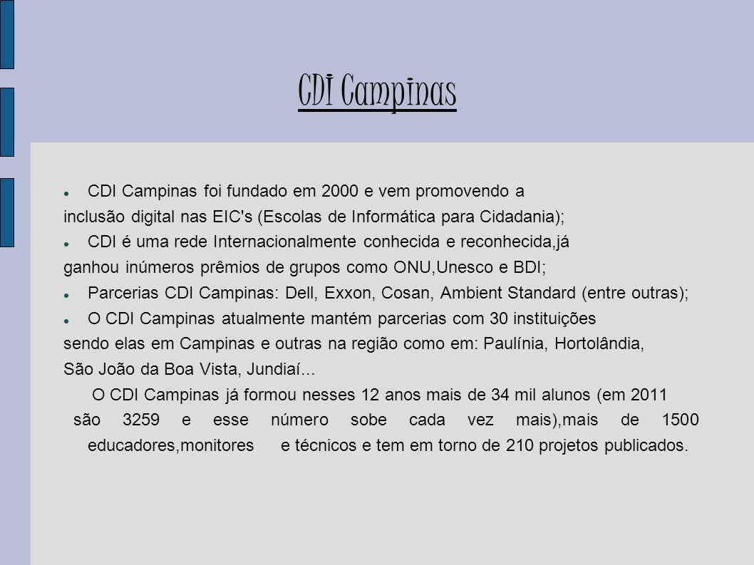 CDI Campinas CDI Campinas foi fundado em 2000 e vem promovendo a