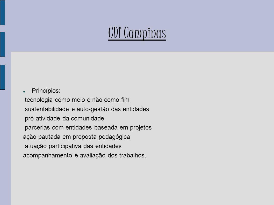 CDI Campinas Princípios: tecnologia como meio e não como fim