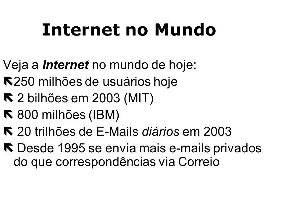 Internet no Mundo Veja a Internet no mundo de hoje: