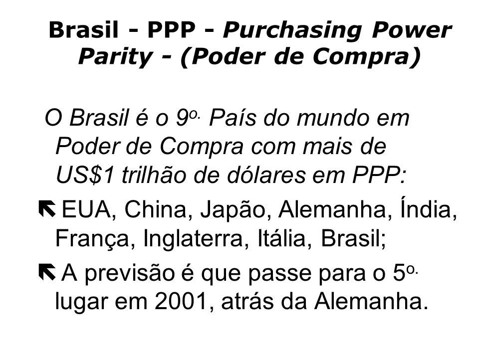Brasil - PPP - Purchasing Power Parity - (Poder de Compra)