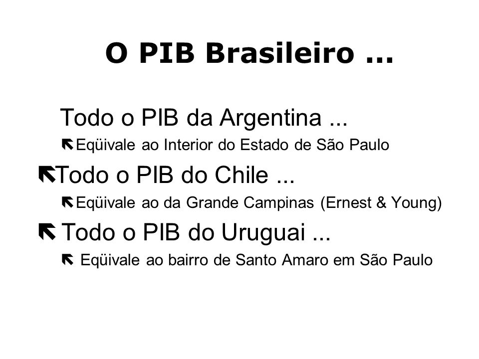 O PIB Brasileiro ... Todo o PIB do Chile ... Todo o PIB do Uruguai ...
