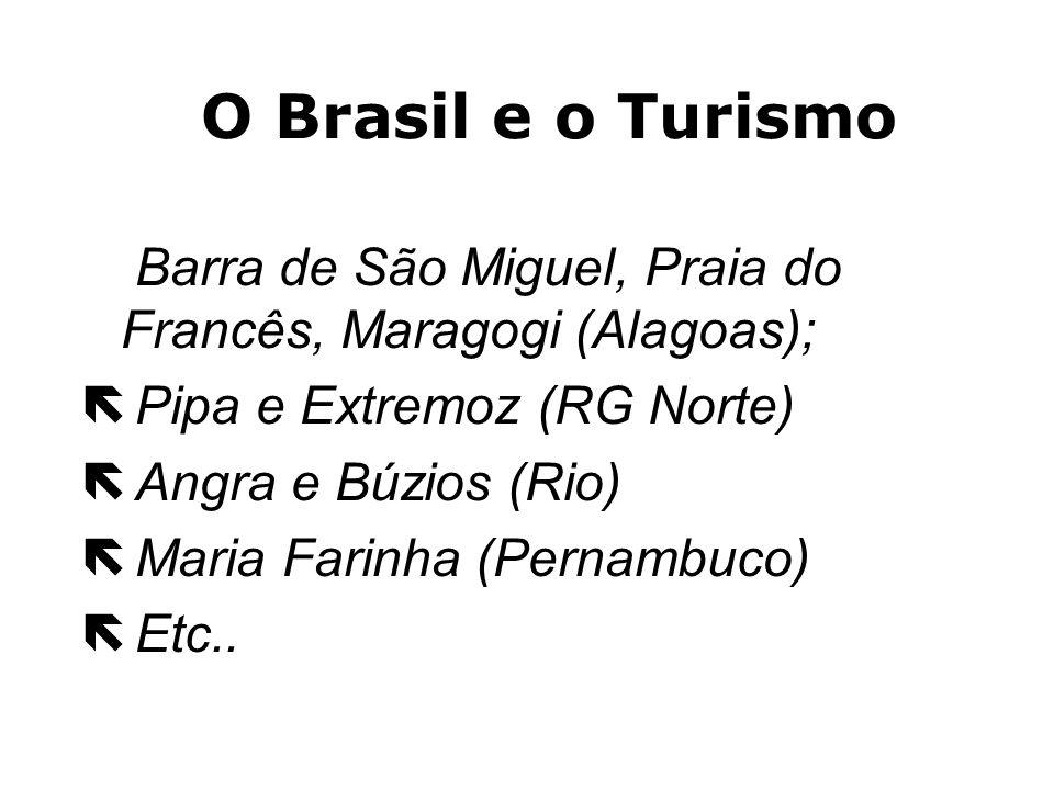 O Brasil e o Turismo Barra de São Miguel, Praia do Francês, Maragogi (Alagoas); Pipa e Extremoz (RG Norte)