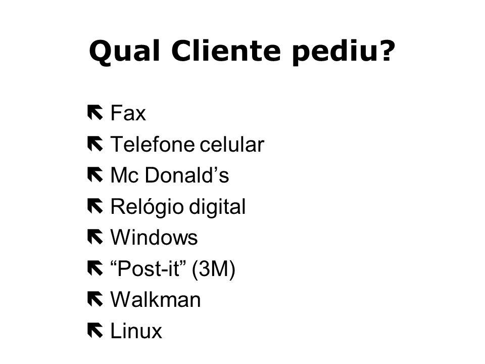 Qual Cliente pediu Fax Telefone celular Mc Donald's Relógio digital