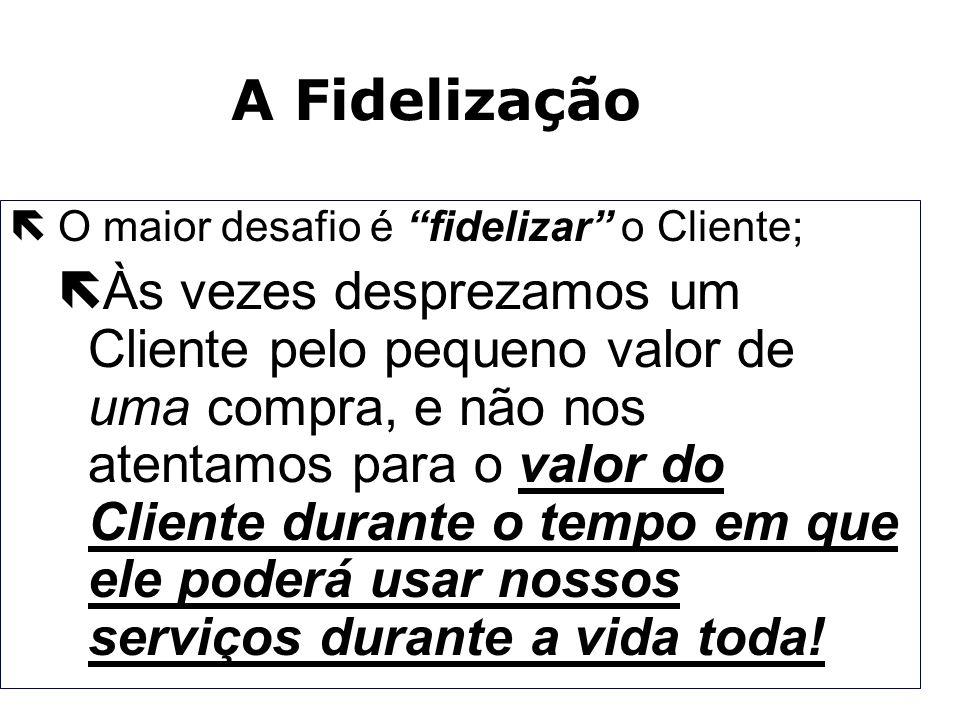 A FidelizaçãoO maior desafio é fidelizar o Cliente;