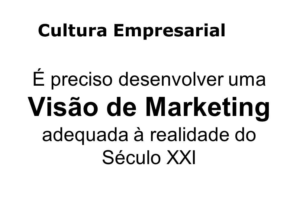 Cultura Empresarial É preciso desenvolver uma Visão de Marketing adequada à realidade do Século XXI