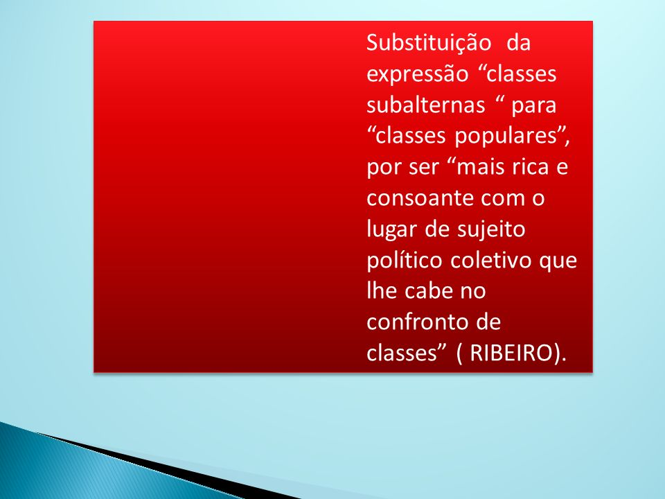 Substituição da expressão classes subalternas para classes populares , por ser mais rica e consoante com o lugar de sujeito político coletivo que lhe cabe no confronto de classes ( RIBEIRO).