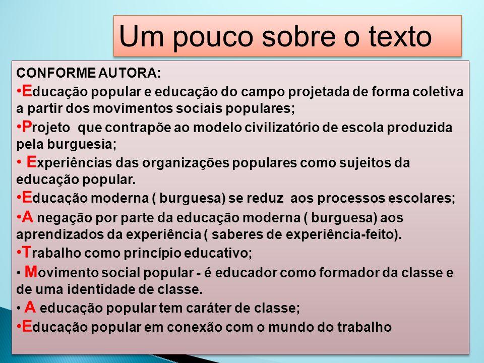 Um pouco sobre o texto CONFORME AUTORA: Educação popular e educação do campo projetada de forma coletiva a partir dos movimentos sociais populares;