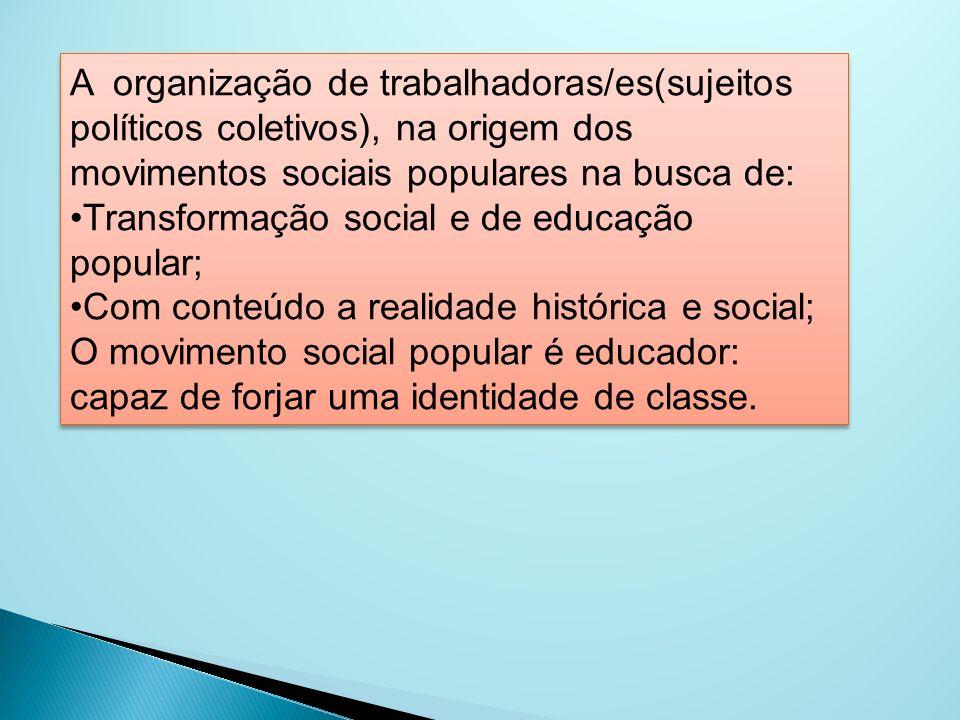 A organização de trabalhadoras/es(sujeitos políticos coletivos), na origem dos movimentos sociais populares na busca de:
