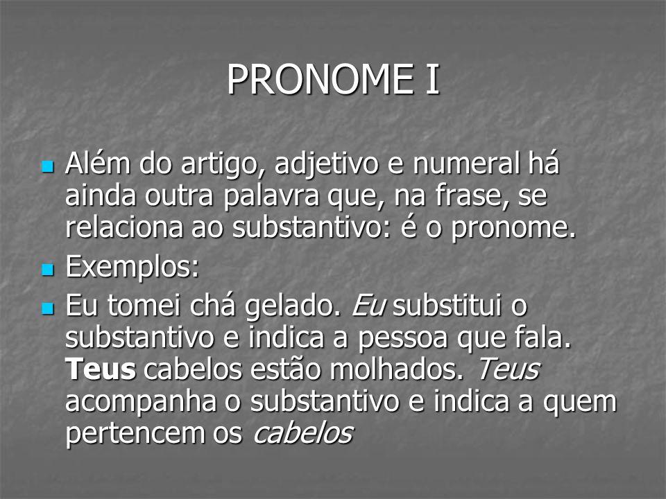 PRONOME I Além do artigo, adjetivo e numeral há ainda outra palavra que, na frase, se relaciona ao substantivo: é o pronome.