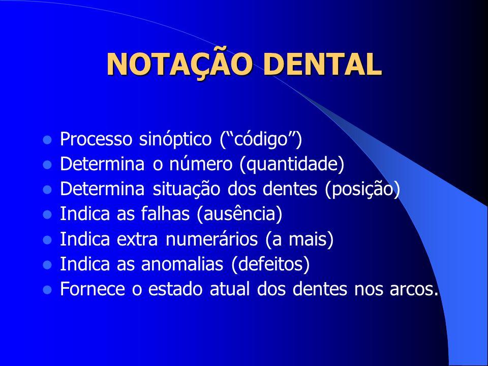 NOTAÇÃO DENTAL Processo sinóptico ( código )