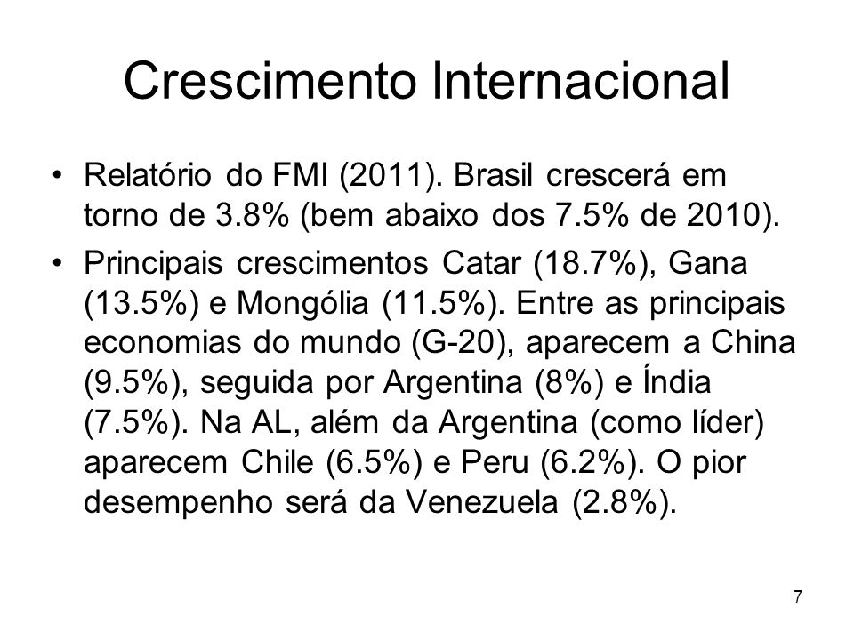 Crescimento Internacional