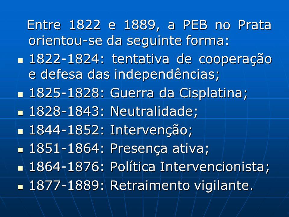 Entre 1822 e 1889, a PEB no Prata orientou-se da seguinte forma: