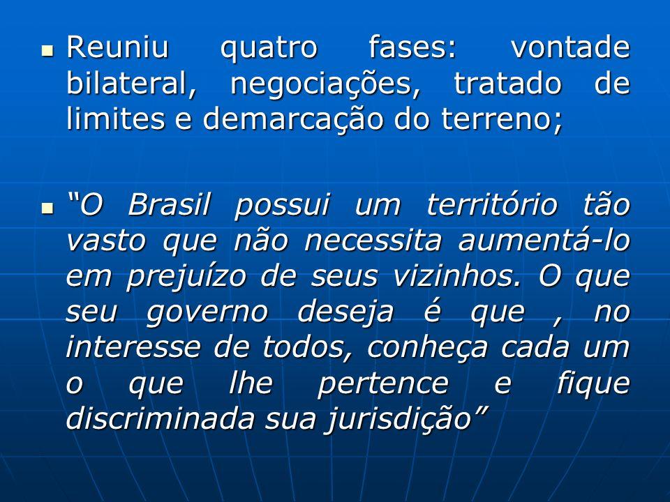 Reuniu quatro fases: vontade bilateral, negociações, tratado de limites e demarcação do terreno;