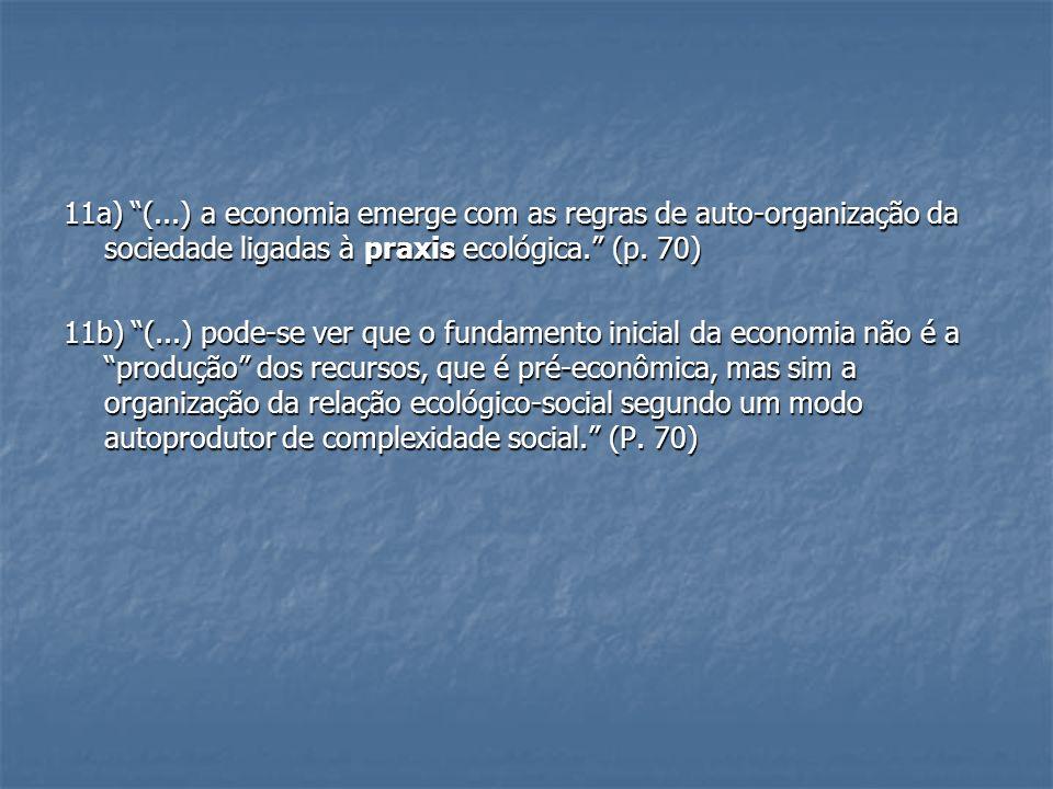 11a) (...) a economia emerge com as regras de auto-organização da sociedade ligadas à praxis ecológica. (p. 70)