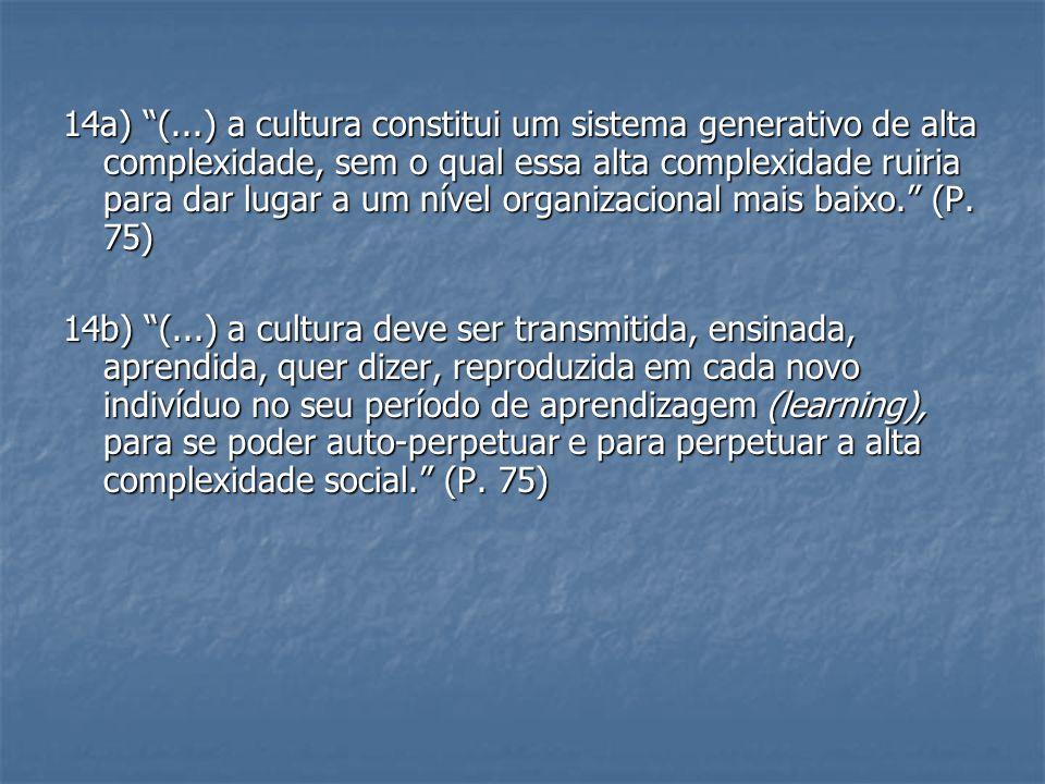 14a) (...) a cultura constitui um sistema generativo de alta complexidade, sem o qual essa alta complexidade ruiria para dar lugar a um nível organizacional mais baixo. (P. 75)