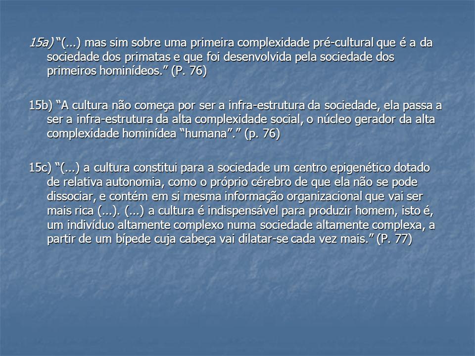 15a) (...) mas sim sobre uma primeira complexidade pré-cultural que é a da sociedade dos primatas e que foi desenvolvida pela sociedade dos primeiros hominídeos. (P. 76)