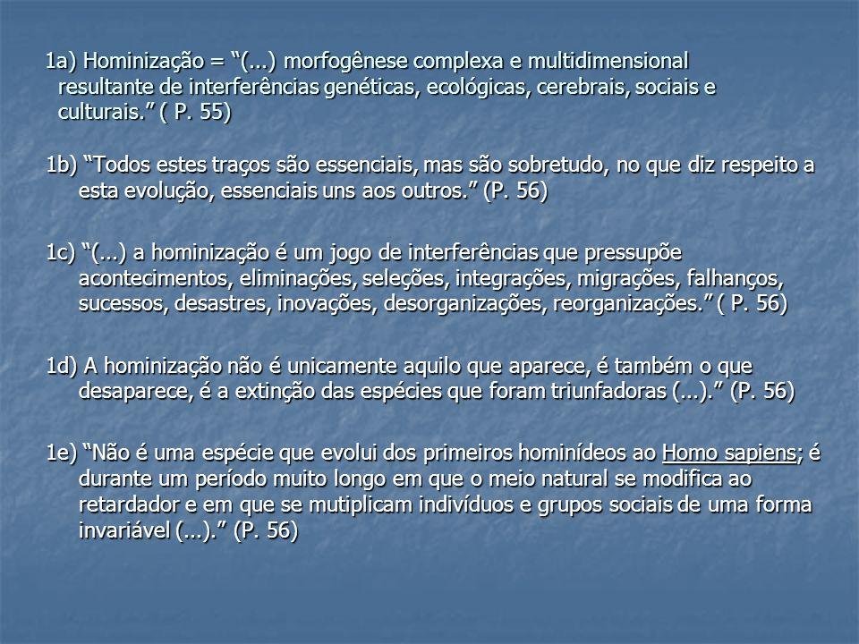 1a) Hominização = (...) morfogênese complexa e multidimensional resultante de interferências genéticas, ecológicas, cerebrais, sociais e culturais. ( P. 55)