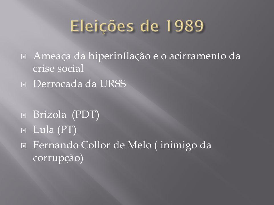 Eleições de 1989 Ameaça da hiperinflação e o acirramento da crise social. Derrocada da URSS. Brizola (PDT)