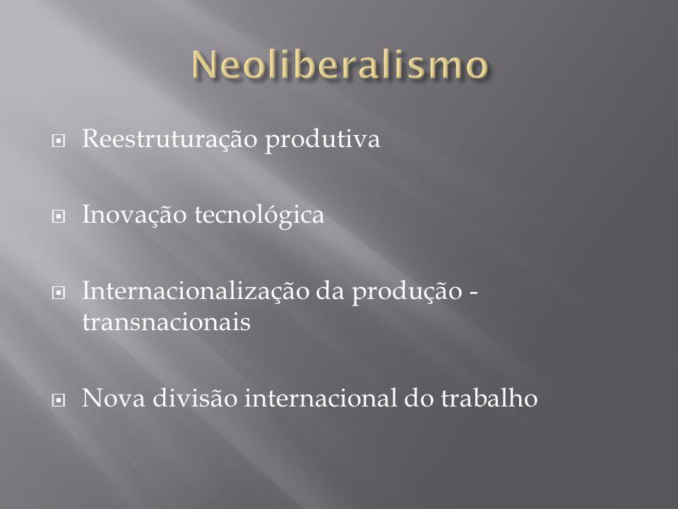 Neoliberalismo Reestruturação produtiva Inovação tecnológica