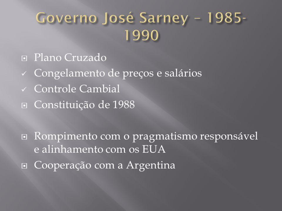 Governo José Sarney – 1985- 1990 Plano Cruzado