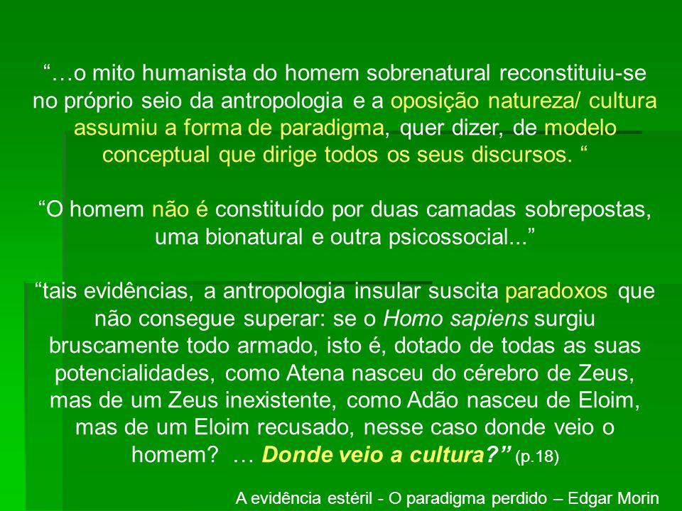 …o mito humanista do homem sobrenatural reconstituiu-se no próprio seio da antropologia e a oposição natureza/ cultura assumiu a forma de paradigma, quer dizer, de modelo conceptual que dirige todos os seus discursos.