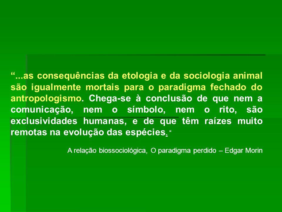 ...as consequências da etologia e da sociologia animal são igualmente mortais para o paradigma fechado do antropologismo. Chega-se à conclusão de que nem a comunicação, nem o símbolo, nem o rito, são exclusividades humanas, e de que têm raízes muito remotas na evolução das espécies.