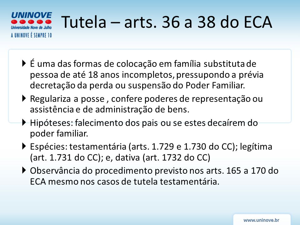 Tutela – arts. 36 a 38 do ECA