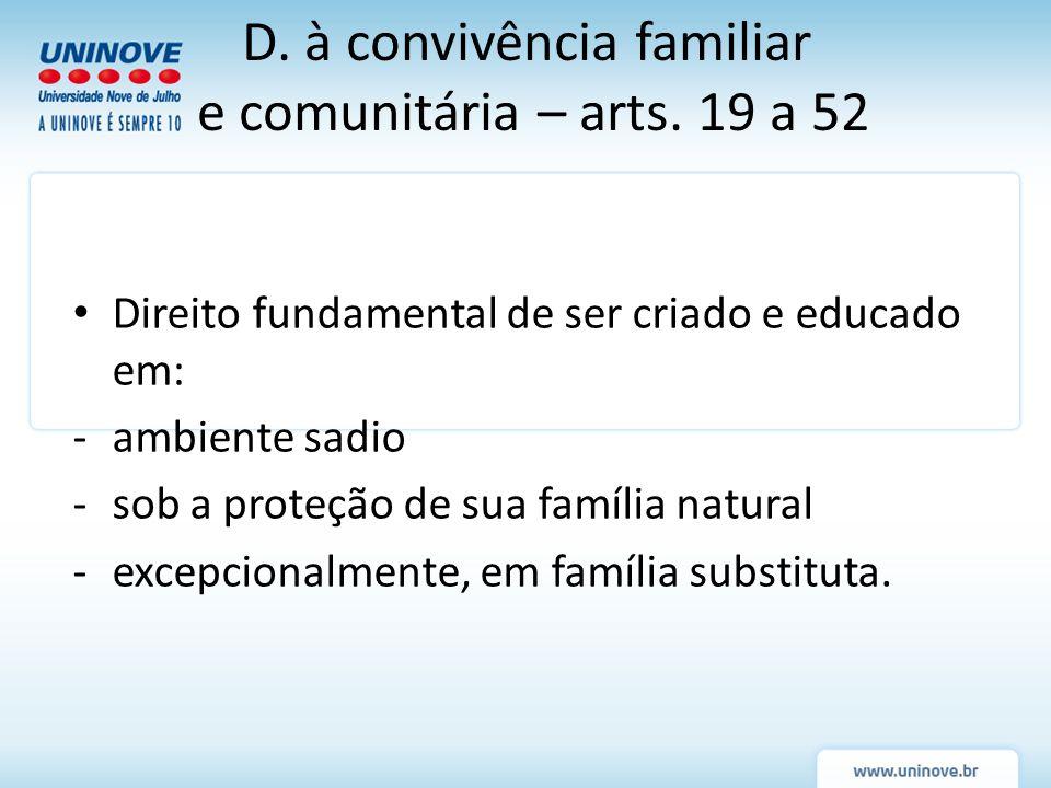 D. à convivência familiar e comunitária – arts. 19 a 52